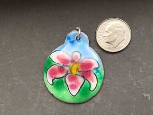 Cloisonne' Pendant Stargazer Lily Pink and White a