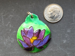 Cloisonne' Pendant - Lotus - Purple