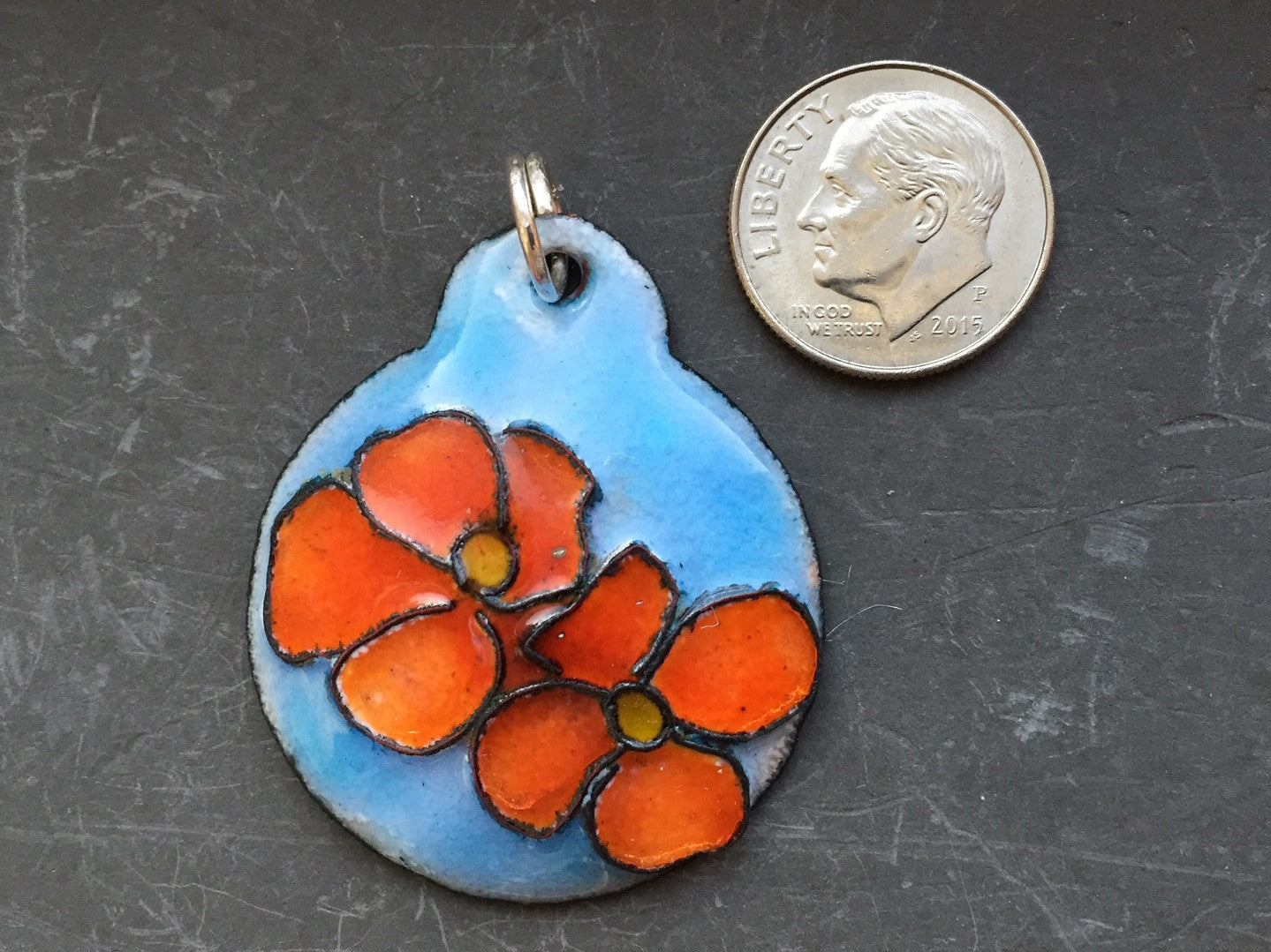 Cloisonne' Pendant Dogwood Orange