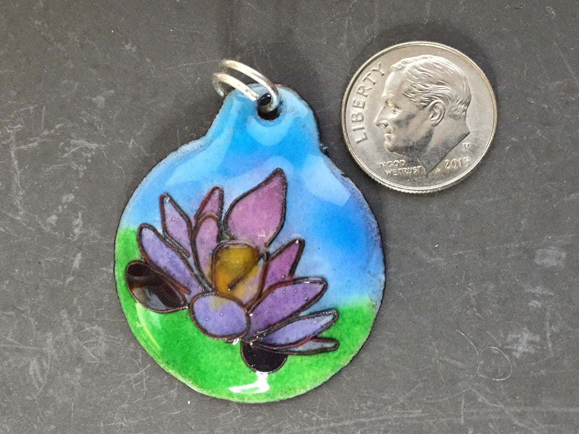 Cloisonne' Pendant Lotus Purple b