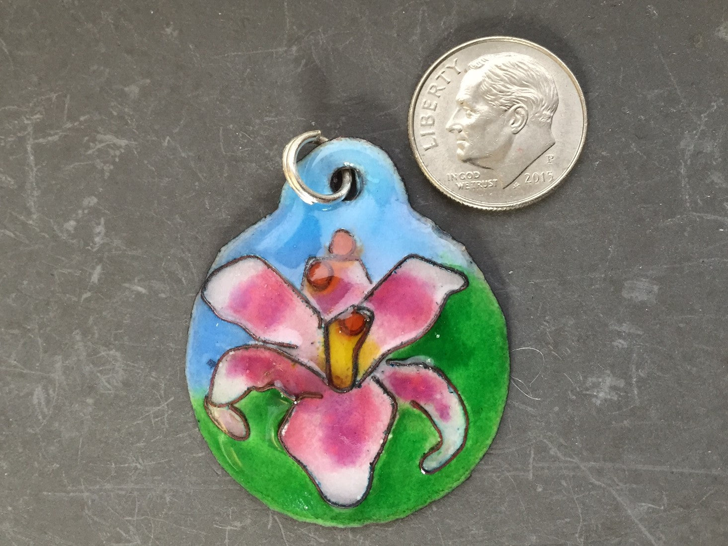 Cloisonne' Pendant Stargazer Lily Pink and White c