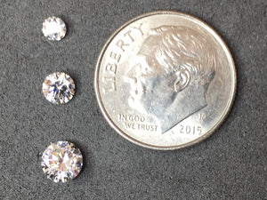 Cubic Zirconia - 3 mm, 4 mm, 5 mm Round Gems - Pack of 1 Each