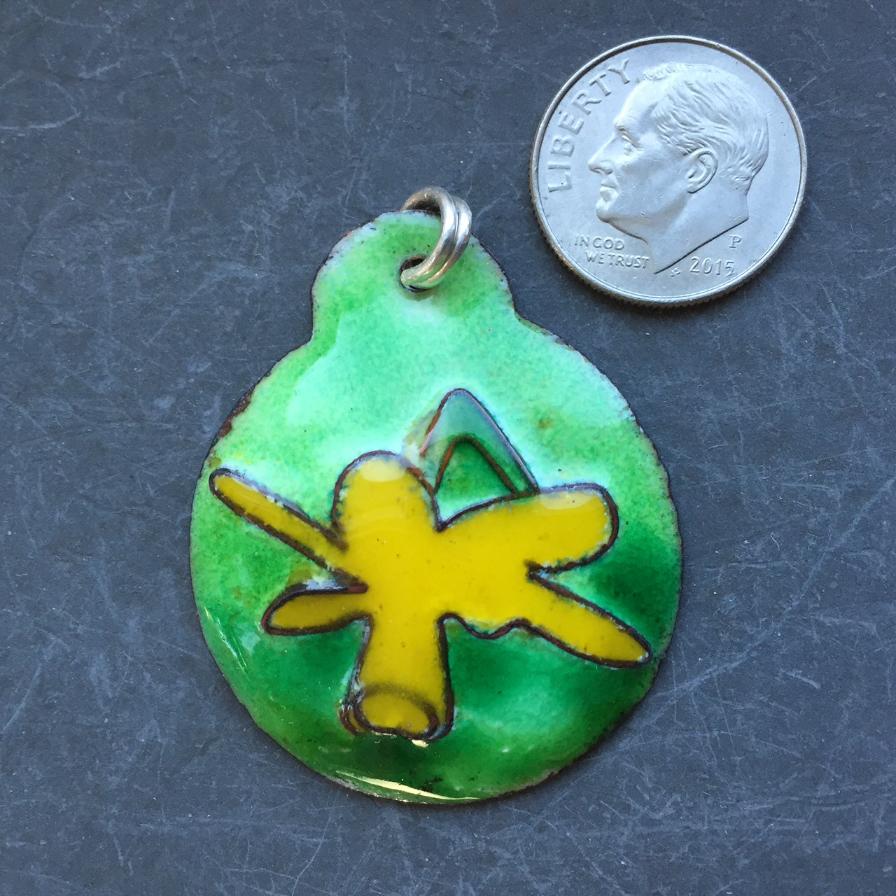 Cloisonne' Pendant Yellow Daffodil a
