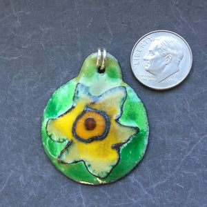 Cloisonne' Pendant Ivory and Yellow Daffodil a