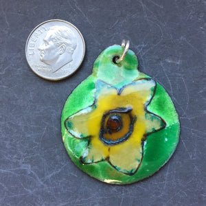 Cloisonne' Pendant Ivory and Yellow Daffodil b