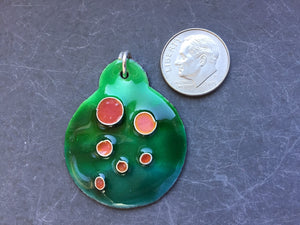 Cloisonne' Pendant Tiny Bubbles of Pink on Green b