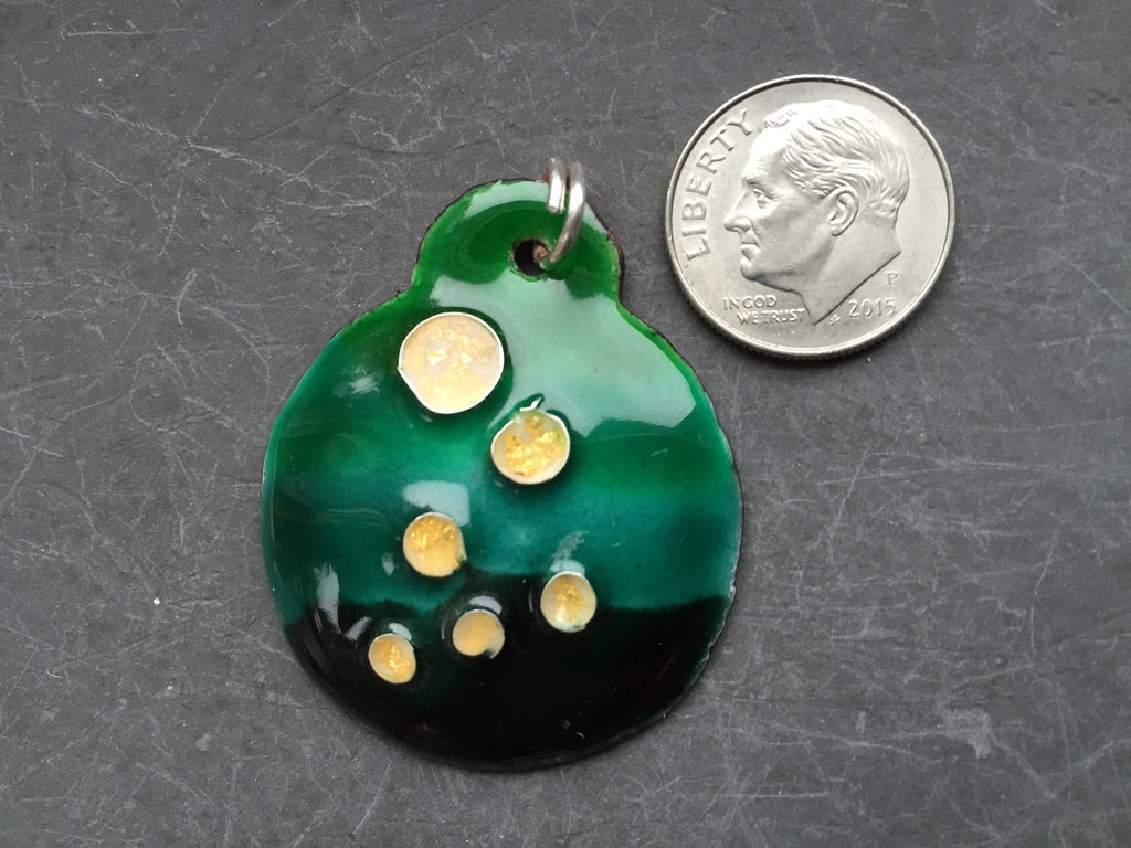 Cloisonne' Pendant Tiny Bubbles of Gold on Green a