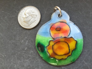 Cloisonne' Pendant Marigolds Orange