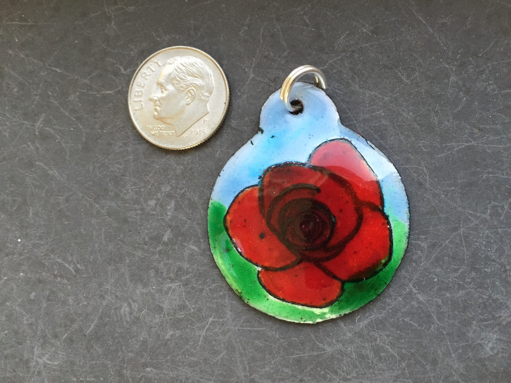 Cloisonne' Pendant Rose Deep Red e