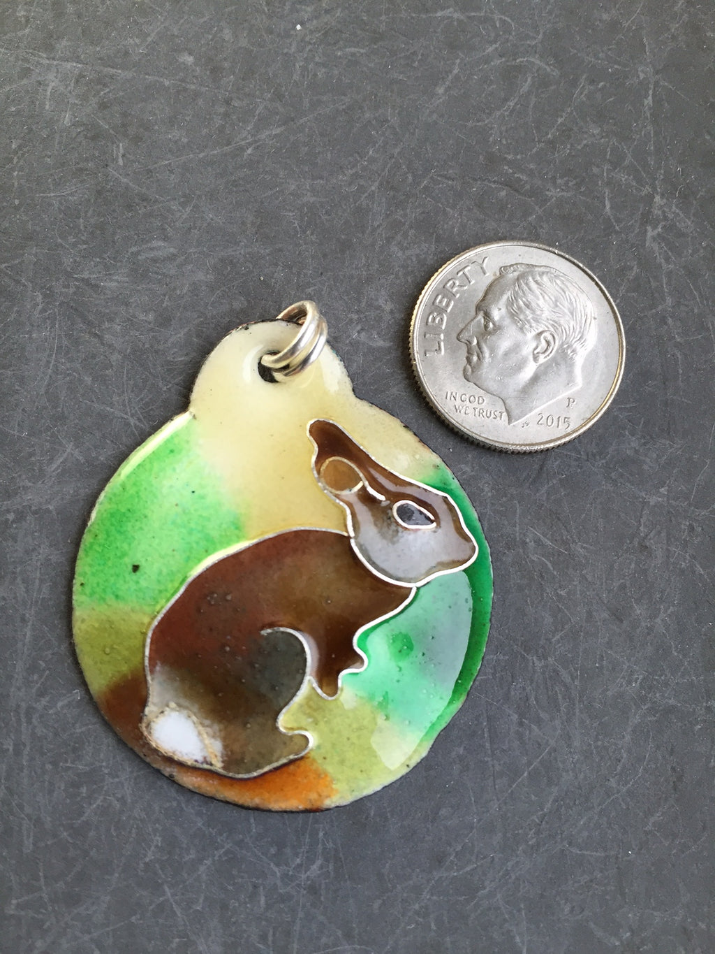 Cloisonne' Pendant Cottontail Rabbit a