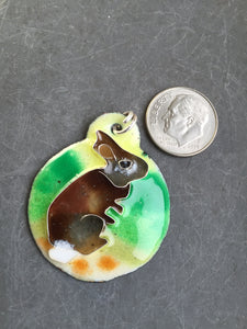 Cloisonne' Pendant Cottontail Rabbit c