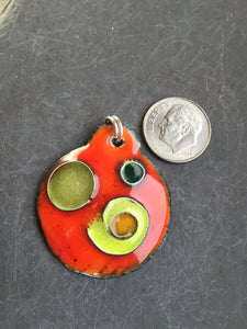Cloisonne' Pendant Green on Orange a