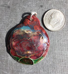 Cloisonne' Pendant Smoky Red Peony a