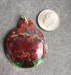 Cloisonne' Pendant Smoky Red Peony b