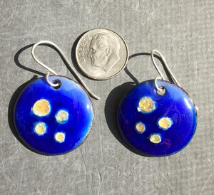 Cloisonne' Drop Earrings Tiny Bubbles of Gold on Blue a