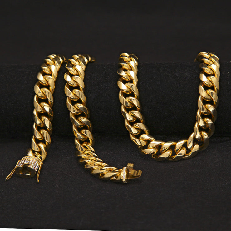 d25d31814bf18 TOP QUALITY 14mm Miami Cuban Link Chain with Iced Out Clasp 14K Gold ...