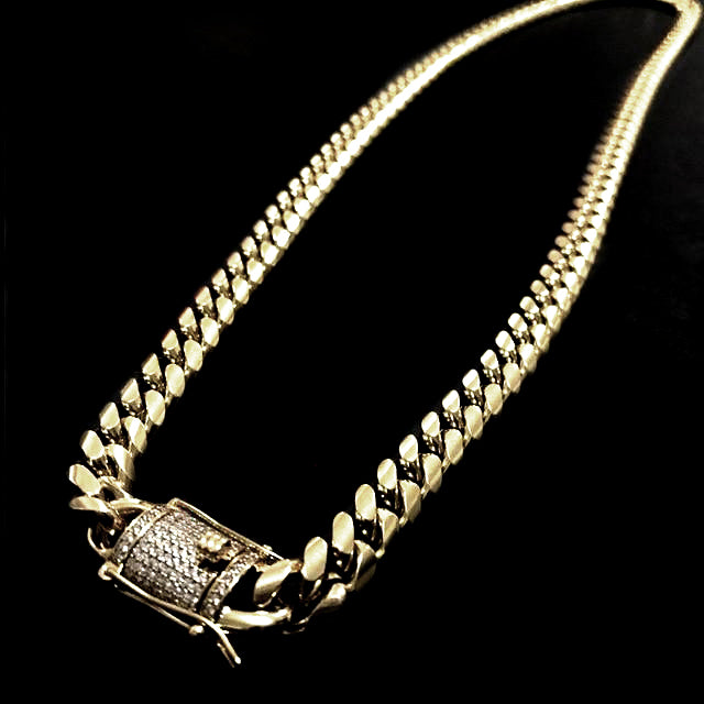 88b62c18c1f52 TOP QUALITY 10mm Miami Cuban Link Chain with Iced Out Clasp 14K Gold ...