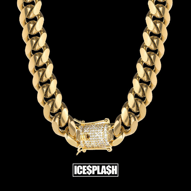 ad400fbdb0592 TOP QUALITY 14mm Miami Cuban Link Chain with Iced Out Clasp 14K Gold Plated