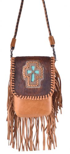 GENUINE LEATHER BAG WITH TURQUOISE CROSS