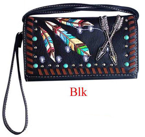 Ladies Purse - Indian Themed - Black Faux Leather - [MW123BK]