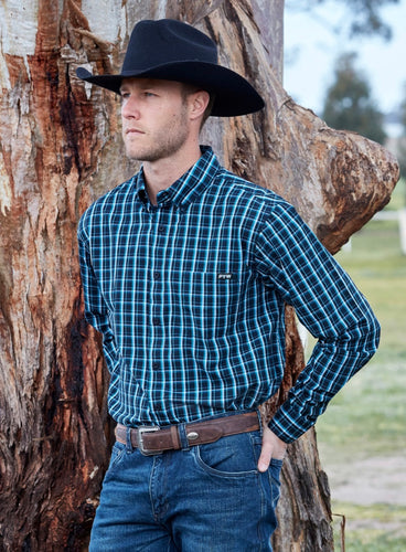 PURE WESTERN MENS ALFONSO CHECK BUTTON DOWN LS SHIRT