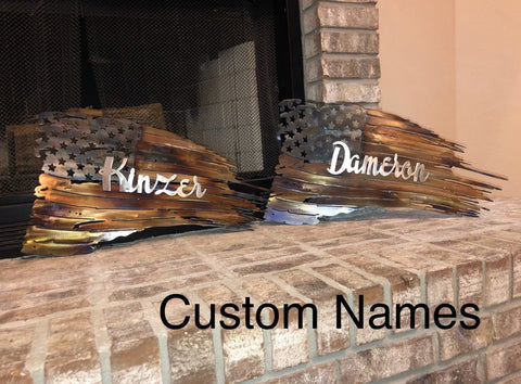 Tattered American Flag - Custom Names - Metal Wall Decor
