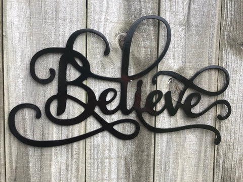 Believe Word Art - Metal Wall Decor