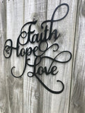 Faith Hope Love Word Art - Metal Wall Decor