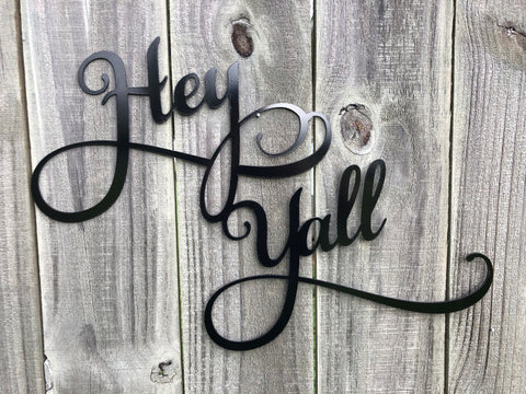 Hey Y'all Word Art - Metal Wall Decor