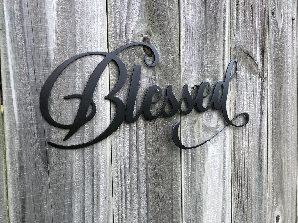 blessed Metal Wall Art Words Silver