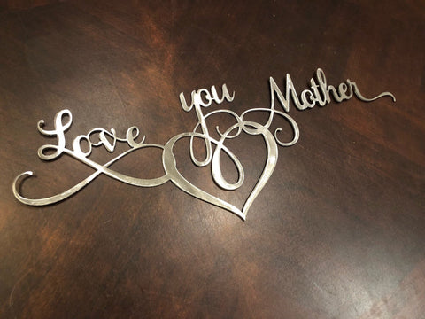 Love You Mother Word Art - Metal Wall Decor