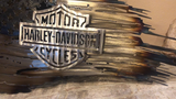 Tattered American Flag with Harley Davidson Logo