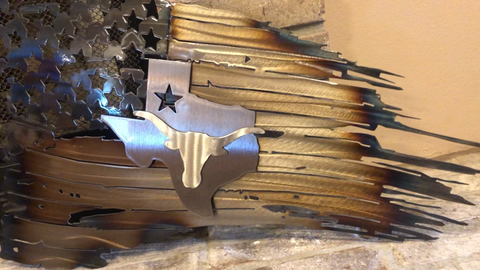 Texas Longhorn Tattered American Flag