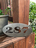 Oval House Number Plaque - Metal Wall Decor