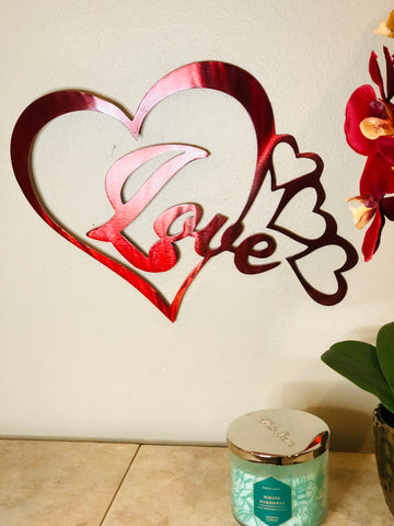 Forever Love With Chained Hearts - Metal Wall Decor