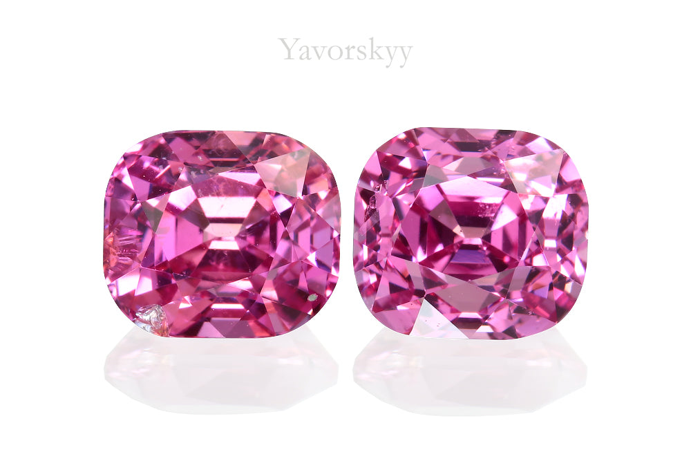 Front view photo of cushion pink spinel 2.39 cts pair