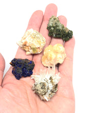 Load image into Gallery viewer, Set of 5 mixed minerals:  Apatite (yellow),Azurite,Epidote,Prehnite, & Selenite FREE SHIPPING