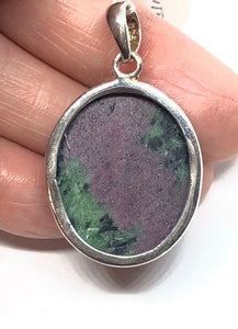 Ruby in Zoisite .925 Sterling Silver Pendant FREE SHIPPING