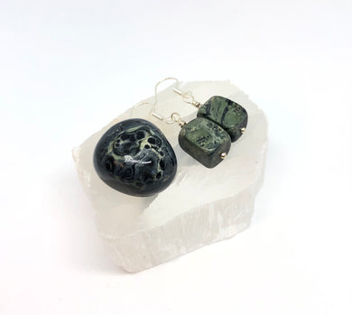 Kambaba Jasper Polished Stone,Handmade Earrings & Selenite Slab Set