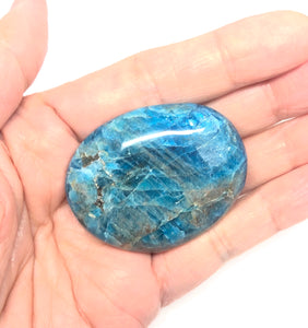 Blue Apatite Palm Stone from Madagascar 61g