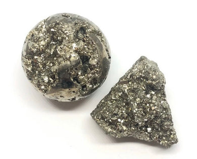 Pyrite Sphere & Stone Set ,Emotional Well Being , Positive Energy, FREE SHIPPING