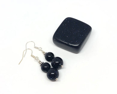 Blue Goldstone Polished Stone & Handmade Earrings Set FREE SHIPPING