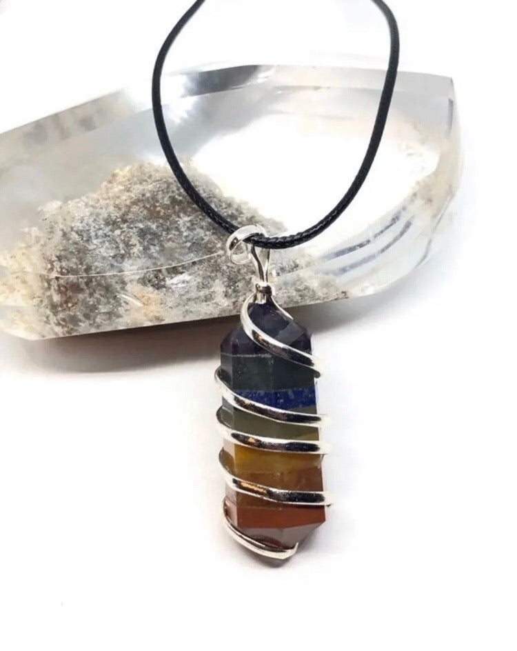 7 Chakra Stone Bonded Pendant Necklace from India. Approximately 1 1/2in FREE SHIPPING