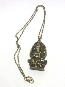 Ganesh Brass Color Pendant Necklace from India FREE SHIPPING