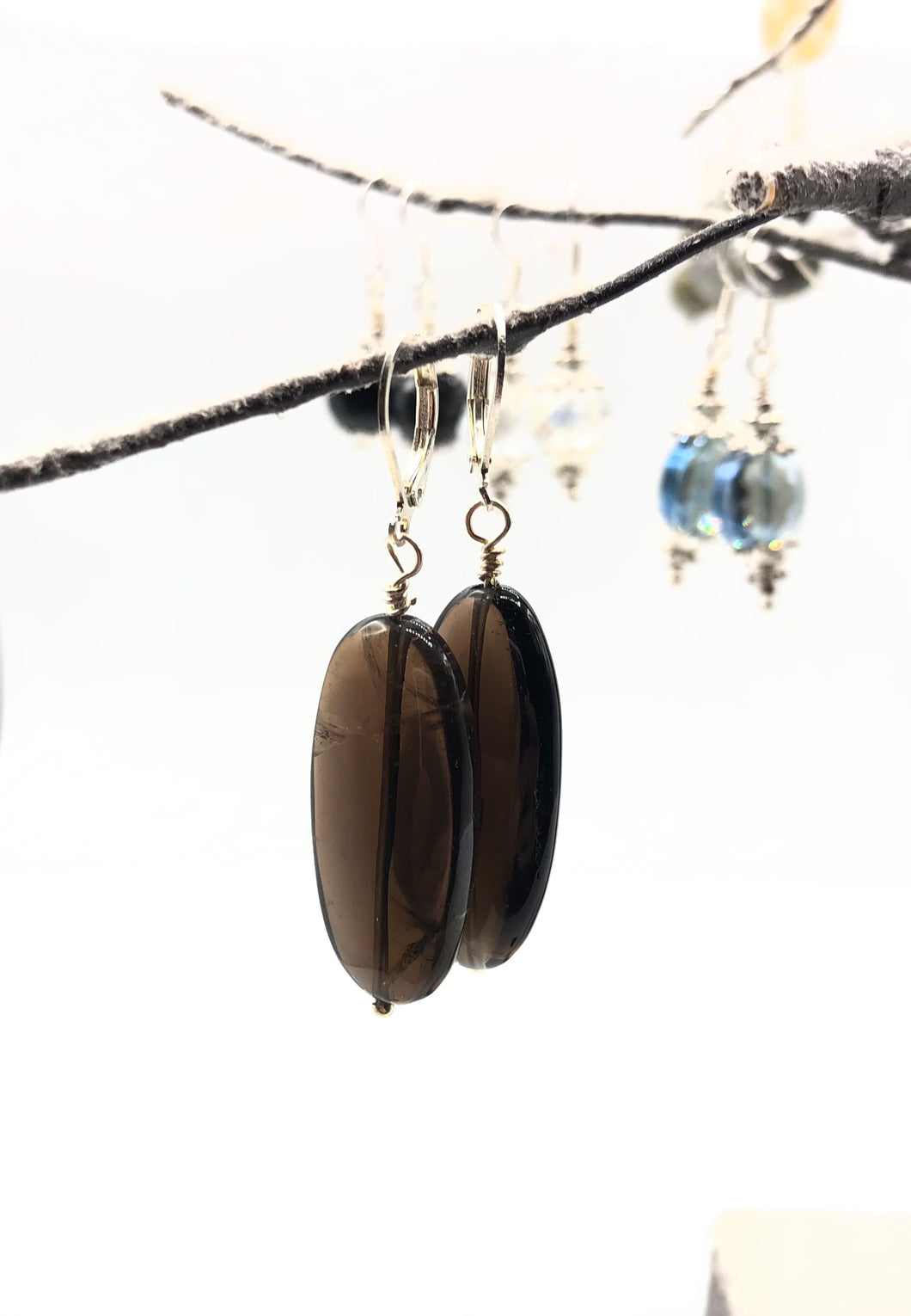 Smoky Quartz Genuine Stone Handmade Earrings FREE SHIPPING
