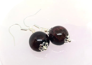Garnet Genuine Stone Handmade Earrings & Selenite Charging Plate Set FREE SHIPPING