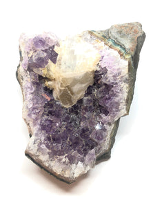 Amethyst & Calcite Cut Base Crystal Geode 1.4lbs Approximately 4in FREE SHIPPING