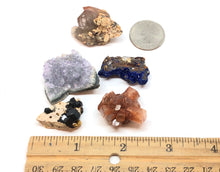 Load image into Gallery viewer, Set of 5 mixed minerals: Amethyst,Aragonite,Azurite,Epidote,Red Quartz