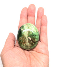 Load image into Gallery viewer, Chrysoprase Palm Stone from Madagascar 74g FREE SHIPPING