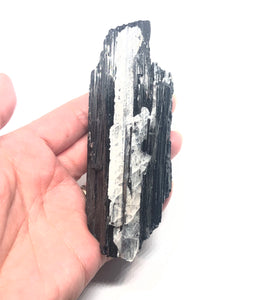 Black Tourmaline with Calcite rough Stone from Brazil 245g Almost 5in FREE SHIPPING